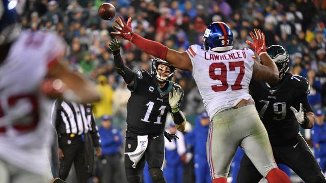 Philadelphia Eagles quarterback Carson Wentz and New York Giants defensive lineman Dexter Lawrence