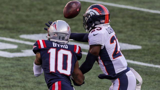 New England Patriots wide receiver Damiere Byrd and Denver Broncos cornerback Michael Ojemudia