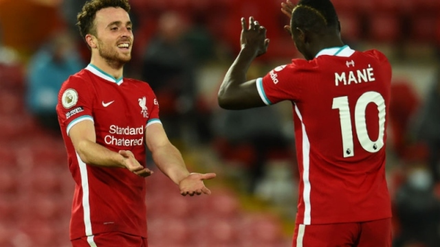 Liverpool forwards Diogo Jota (left) and Sadio Mane