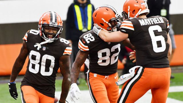 Cleveland Browns wide receivers Jarvis Landry and Rashard Higgins and quarterback Baker Mayfield