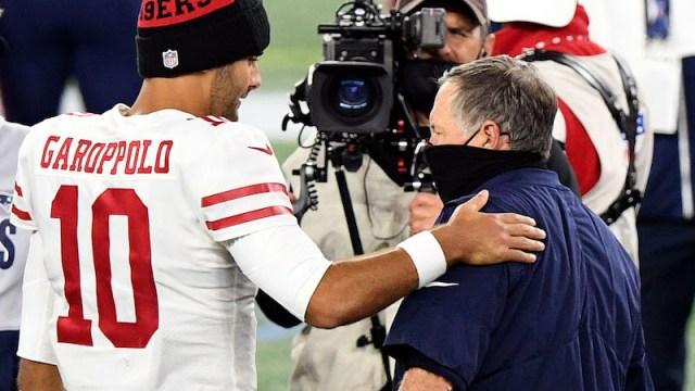 49ers quarterback Jimmy Garoppolo, Patriots head coach Bill Belichick