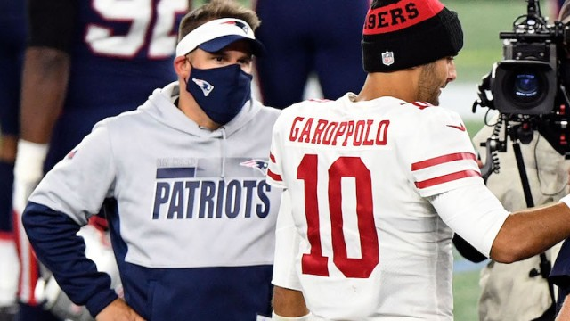 Patriots offensive coordinator Josh McDaniels, 49ers quarterback Jimmy Garoppolo