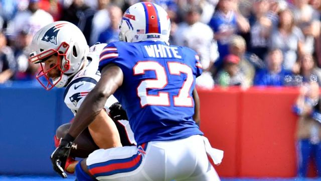New England Patriots wide receiver Julian Edelman and Buffalo Bills cornerback Tre'Davious White