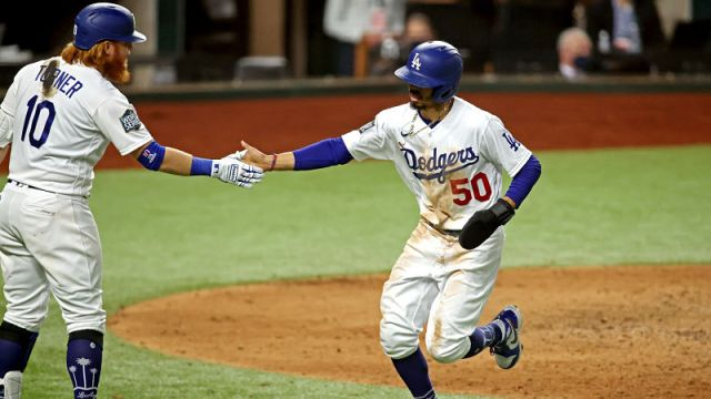 Los Angeles Dodgers third baseman Justin Turner and right fielder Mookie Betts