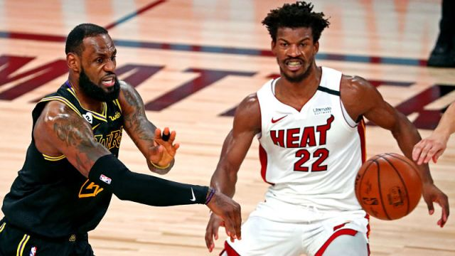 Los Angeles Lakers forward LeBron James and Miami Heat forward Jimmy Butler