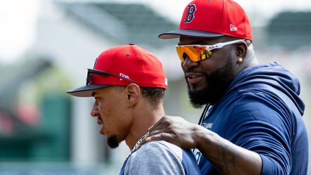 Los Angeles Dodgers right fielder Mookie Betts, Retired Boston Red Sox designated hitter David Ortiz