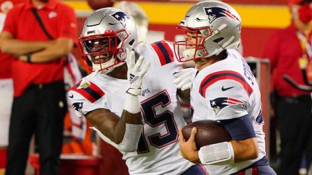 Patriots wide receiver N'Keal Harry, quarterback Jarrett Stidham