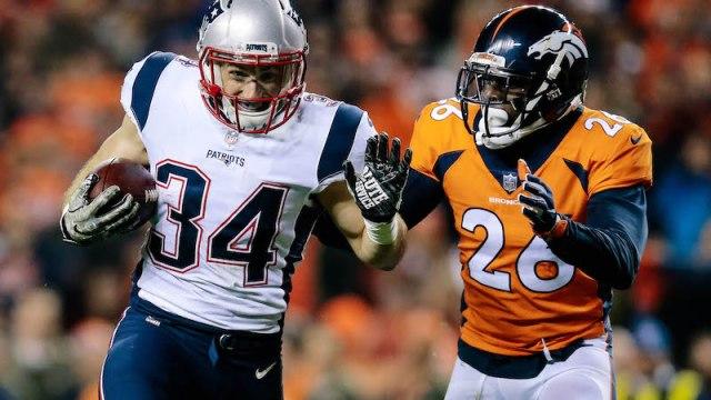 Patriots running back Rex Burkhead, Broncos safety Darian Stewart