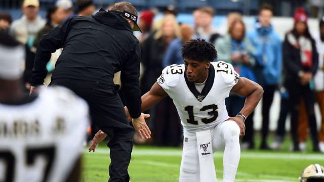 New Orleans Saints head coach Sean Payton and wide receiver Michael Thomas