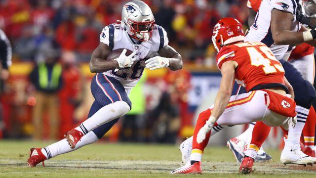 New England Patriots running back Sony Michel and Kansas City Chiefs safety Daniel Sorensen