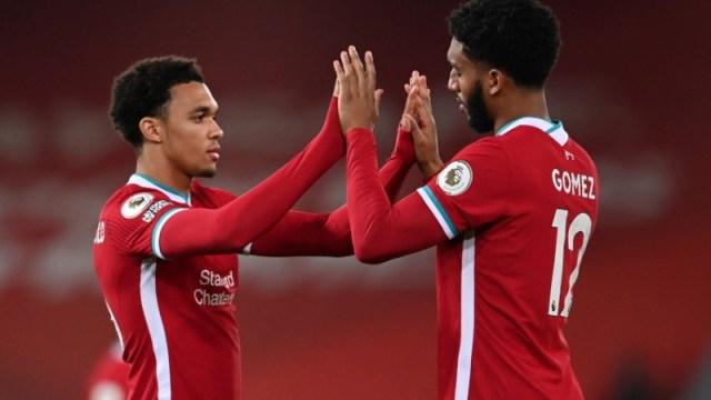 Liverpool defenders Trent Alexander-Arnold (left) and Joe Gomez