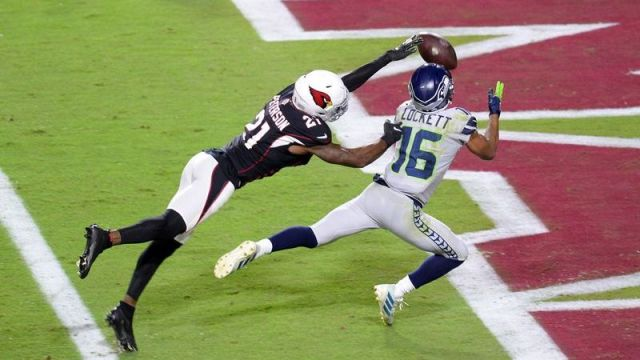 Arizona Cardinals cornerback Patrick Peterson, Seattle Seahawks wide receiver Tyler Lockett