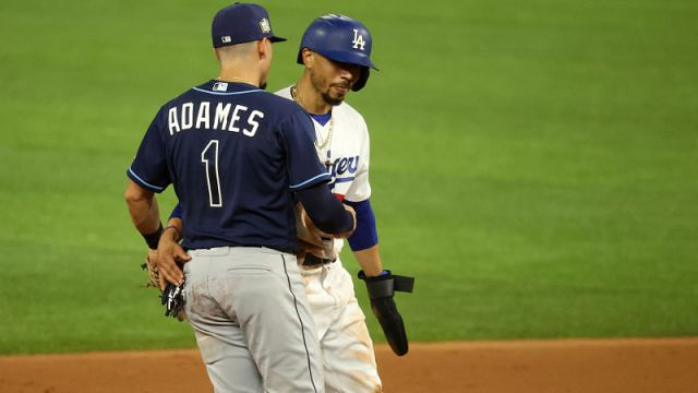 Tampa Bay Rays shortstop Willy Adames and Los Angeles Dodgers outfielder Mookie Betts