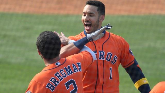 Houston Astros infielders Alex Bregman and Carlos Correa