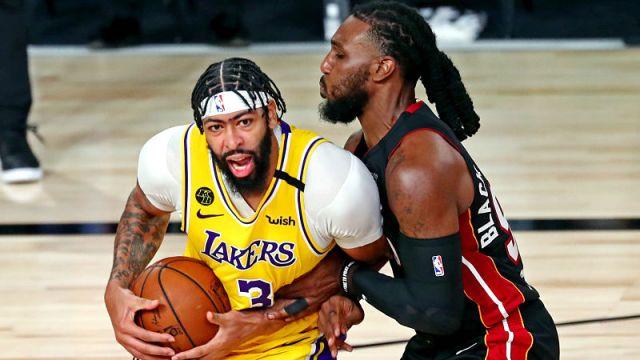 Los Angeles Lakers forward Anthony Davis and Miami Heat forward Jae Crowder