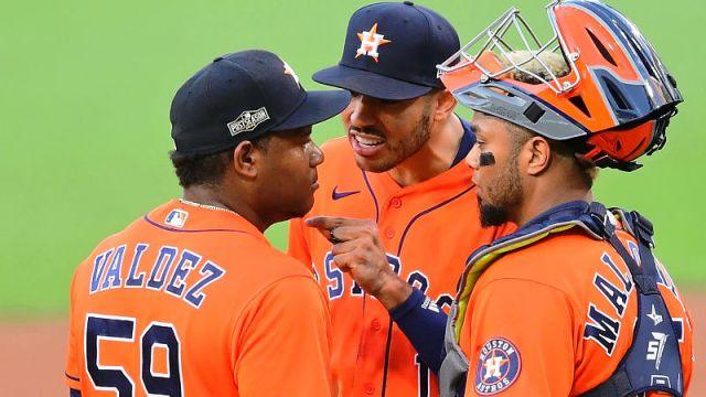 Houston Astros shortstop Carlos Correa and starting pitcher Framber Valdez