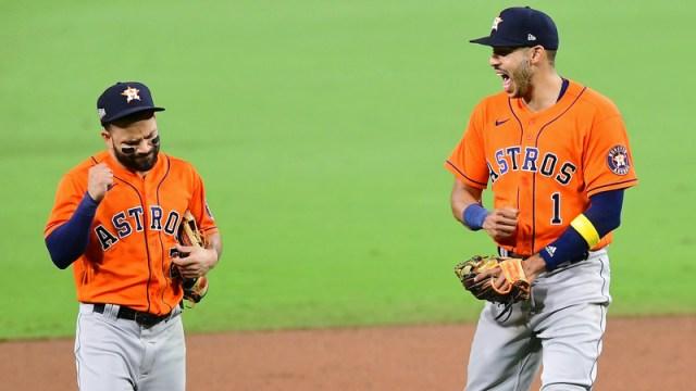 Houston Astros infielders Jose Altuve, Carlos Correa