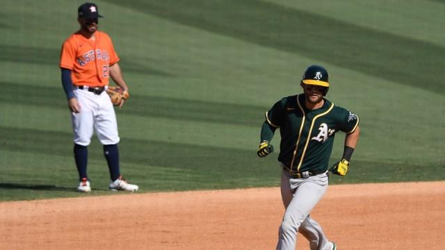 Oakland Athletics third baseman Chad Pinder, Houston Astros second baseman Jose Altuve