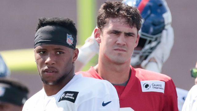 New York Giants running back Saquon Barkley and quarterback Daniel Jones