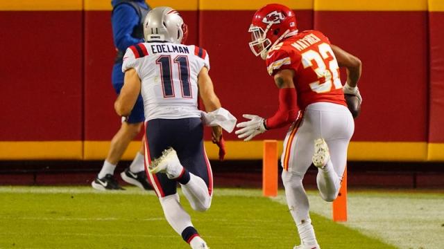 Kansas City Chiefs' Tyrann Mathieu, New England Patriots' Julian Edelman