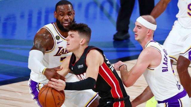 Los Angeles Lakers' LeBron James And Miami Heat's Tyler Herro
