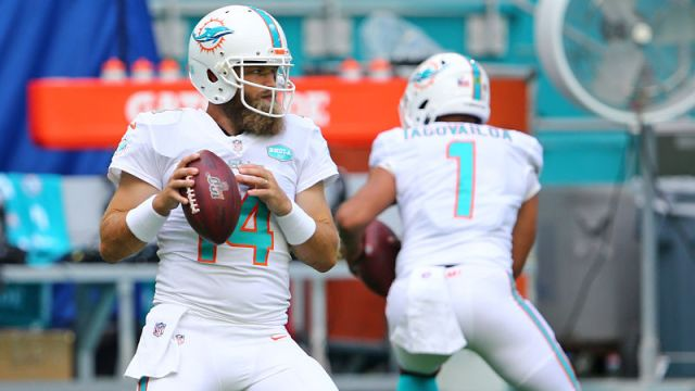 Miami Dolphins quarterbacks Ryan Fitzpatrick and Tua Tagovailoa