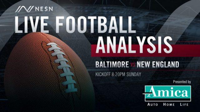 Amica Live Football Analysis NE vs BAL 8:20pm Sunday
