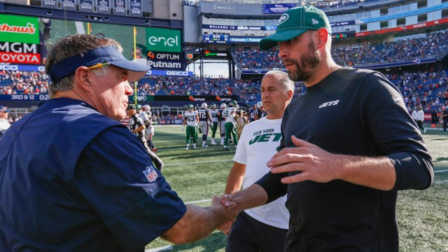 Patriots head coach Bill Belichick, Jets head coach Adam Gase
