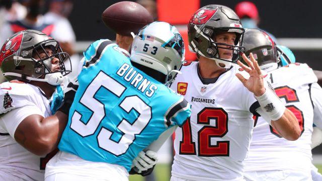 Carolina Panthers defensive end Brian Burns and Tampa Bay Buccaneers quarterback Tom Brady