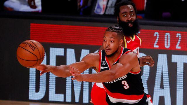Portland Trail Blazers guard CJ McCollum and Houston Rockets guard James Harden