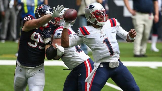 Texans defensive end JJ Watt, Patriots quarterback Cam Newton