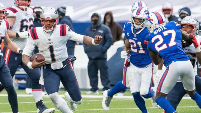 New England Patriots quarterback Cam Newton and Buffalo Bills cornerback Tre'Davious White
