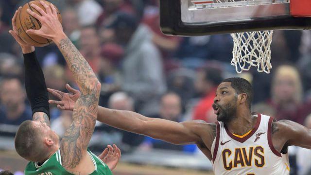 Boston Celtics forwards Daniel Theis and Tristan Thompson