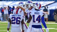 Buffalo Bills running back Devin Singeltary, quarterback Josh Allen and wide receiver Stefon Diggs