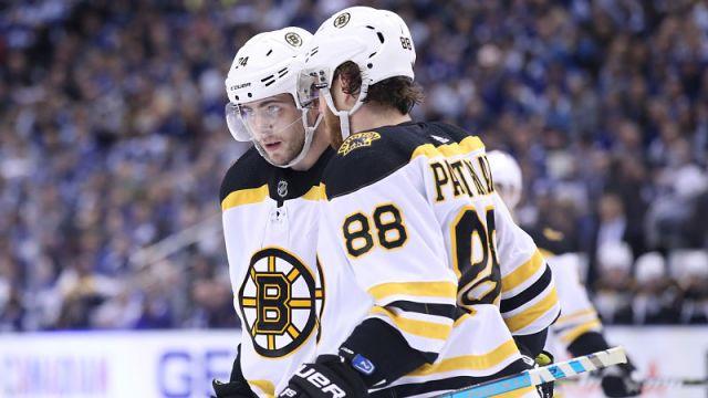 Boston Bruins wings Jake DeBrusk and David Pastrnak