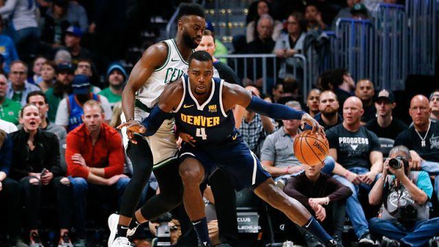 Boston Celtics guard Jaylen Brown and Denver Nuggets forward Paul Millsap