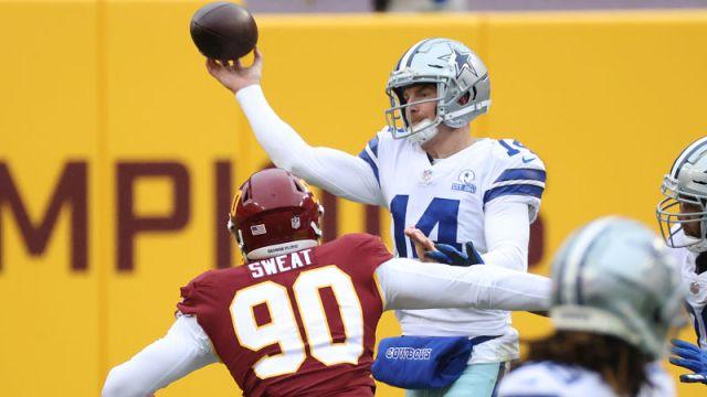 Washington Football Team defensive lineman Montez Sweat and Dallas Cowboys quarterback Andy Dalton