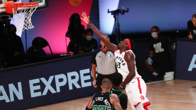 Toronto Raptors forward Pascal Siakam (right)