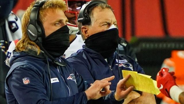 Patriots outside linebackers coach Steve Belichick, head coach Bill Belichick