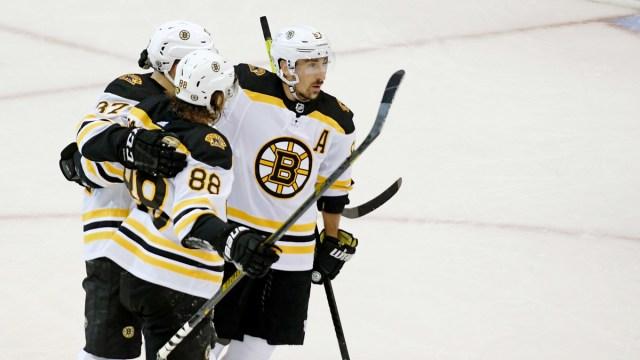 Boston Bruins Forwards Brad Marchand, Patrice Bergeron & David Pastrnak