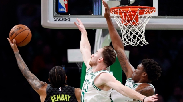 Boston Celtics forward Gordon Hayward, center Robert Williams; Atlanta Hawks forward De'Andre Bembry