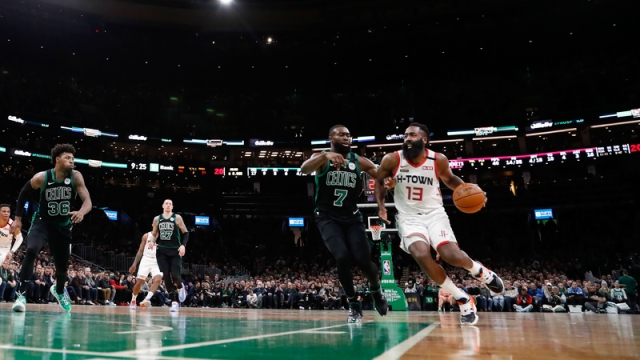 Boston Celtics forward Jaylen Brown, Houston Rockets guard James Harden