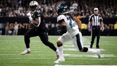 New Orleans Saints running back Avonte Maddox and Philadelphia Eagles cornerback Avonte Maddox