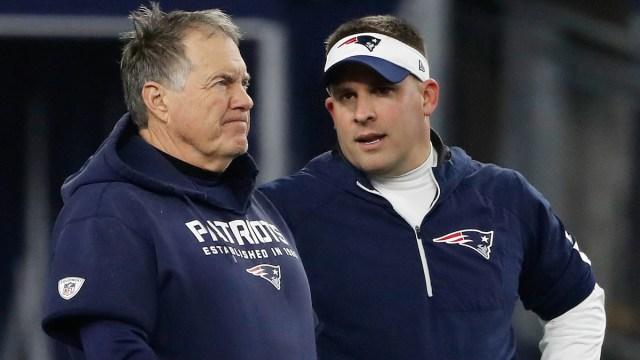Patriots head coach Bill Belichick, offensive coordinator Josh McDaniels