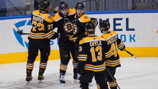 Boston Bruins' Charlie Coyle, Matt Grzelcyk, Ondrej Kase, Jake DeBrusk And Charlie McAvoy