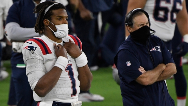 New England Patriots quarterback Cam Newton, head coach Bill Belichick