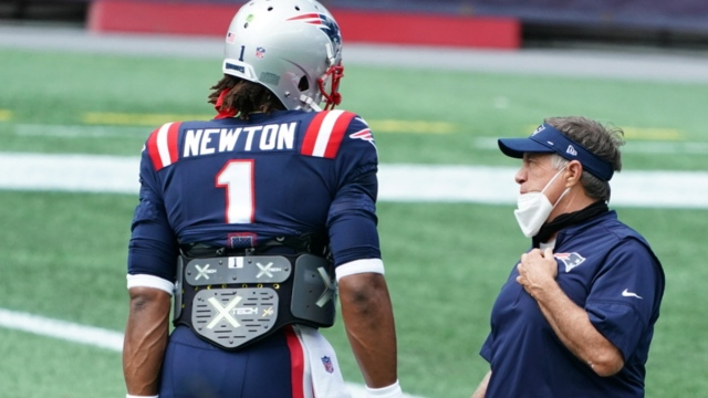 Patriots quarterback Cam Newton, head coach Bill Belichick