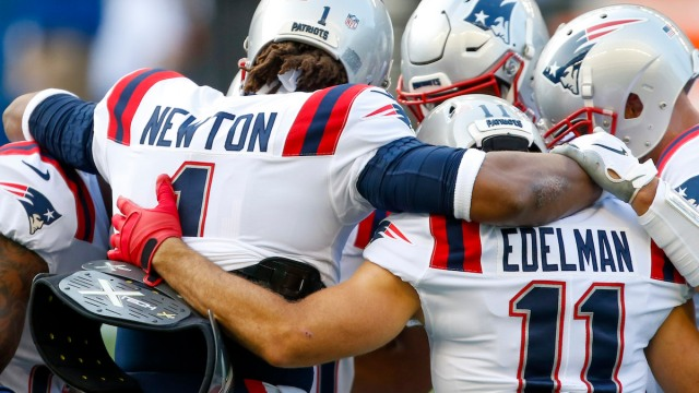 Patriots quarterback Cam Newton, wide receiver Julian Edelman
