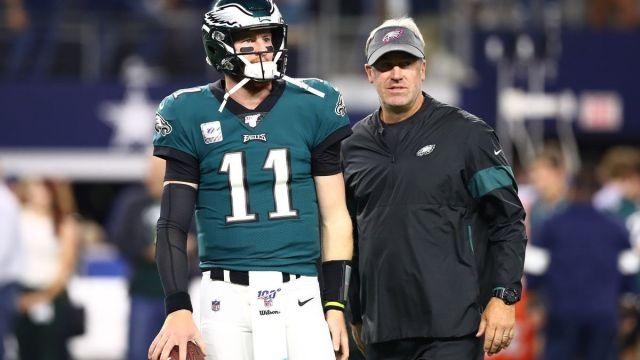 Philadelphia Eagles quarterback Carson Wentz, coach Doug Pederson
