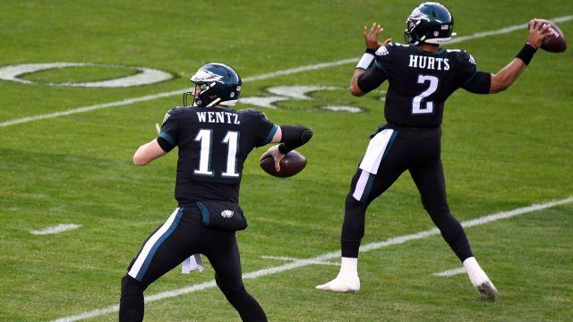 Philadelphia Eagles quarterbacks Carson Wentz and Jalen Hurts